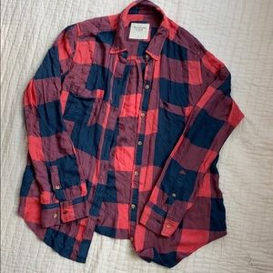 Abercrombie flowy plaid button-down Pink/Navy M